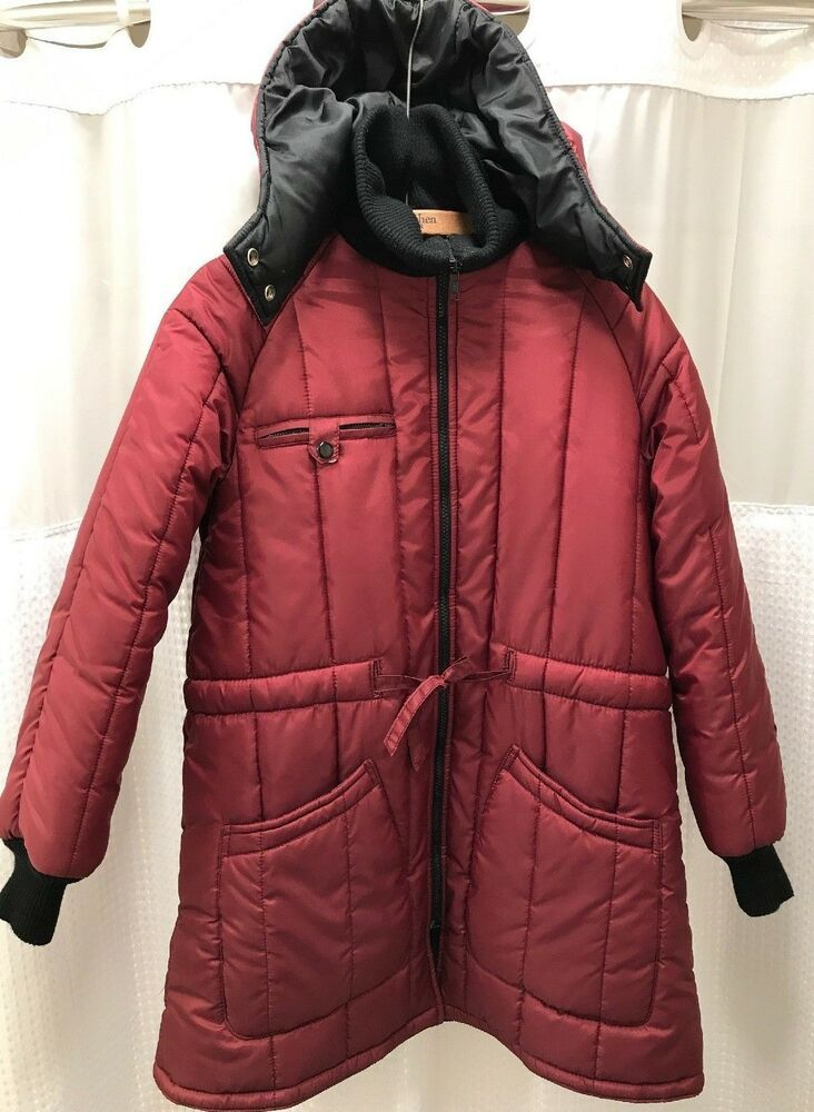 cheap for discount 29dff 45ac5 Vintage Womens Burgundy Montgomery Ward Puffer Hooded Coat ...