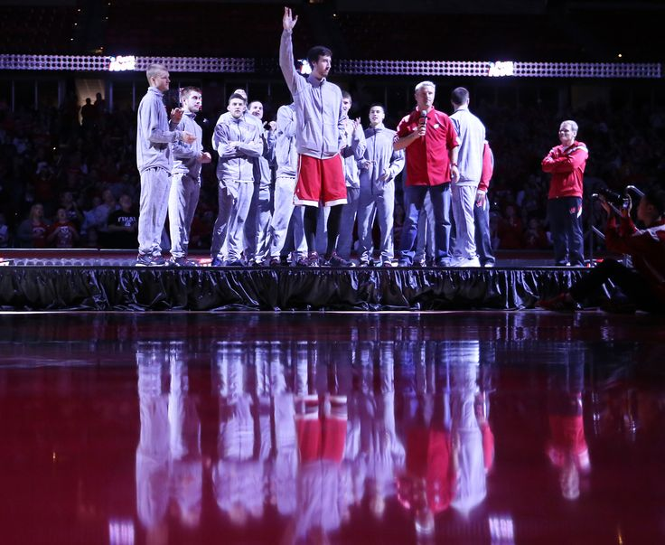 Members of the Wisconsin men's basketball team, including senior Frank Kaminski, center, greet fans during a rally celebrating the team's second-consecutive NCAA Final Four appearance at the Kohl Center in Madison, Wis. Wednesday, April 1, 2015. (AP Photo/John Hart, Wisconsin State Journal)