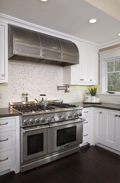 White kitchen with dark accents. Unique range hood.: Kitchens, Stove Hood, Range Hoods, Kitchen Ideas, Design
