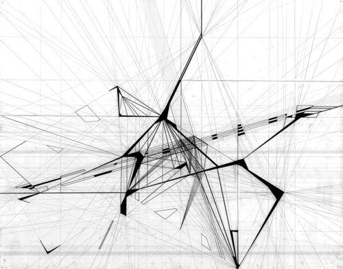 """Josh Frank, USF School of Architecture, Class of 2015  Design 1: """"City-Matrix Interpretation Graphic"""" - Fall 2012, Professor Steve Cooke  22""""x30"""" Graphite on Bristol"""