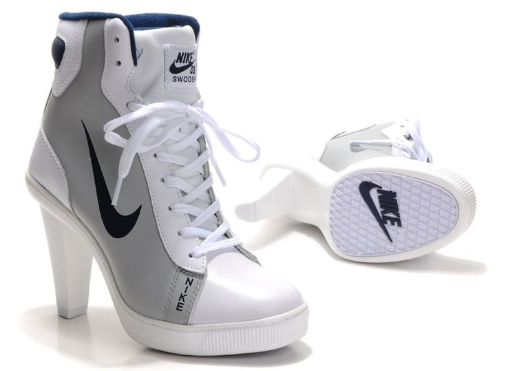 nikes with heels for women | Nike High Heels For Women Grey White