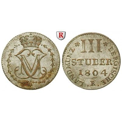 Jülich-Kleve-Berg, Großherzogtum Berg, Maximilian Joseph von Bayern, 3 Stüber 1804, vz: Maximilian Joseph von Bayern 1799-1806.… #coins