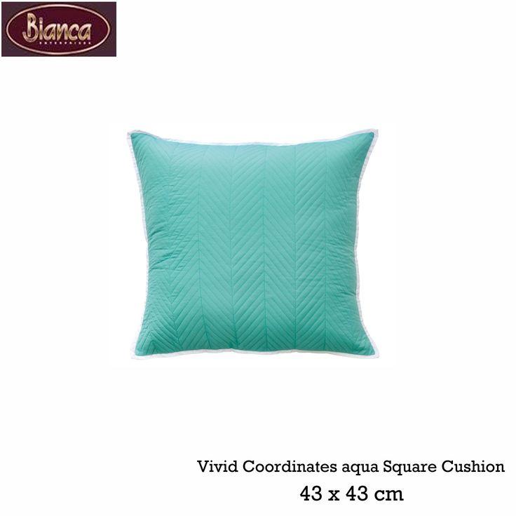 Vivid Coordinates Aqua Square Cushion by Bianca