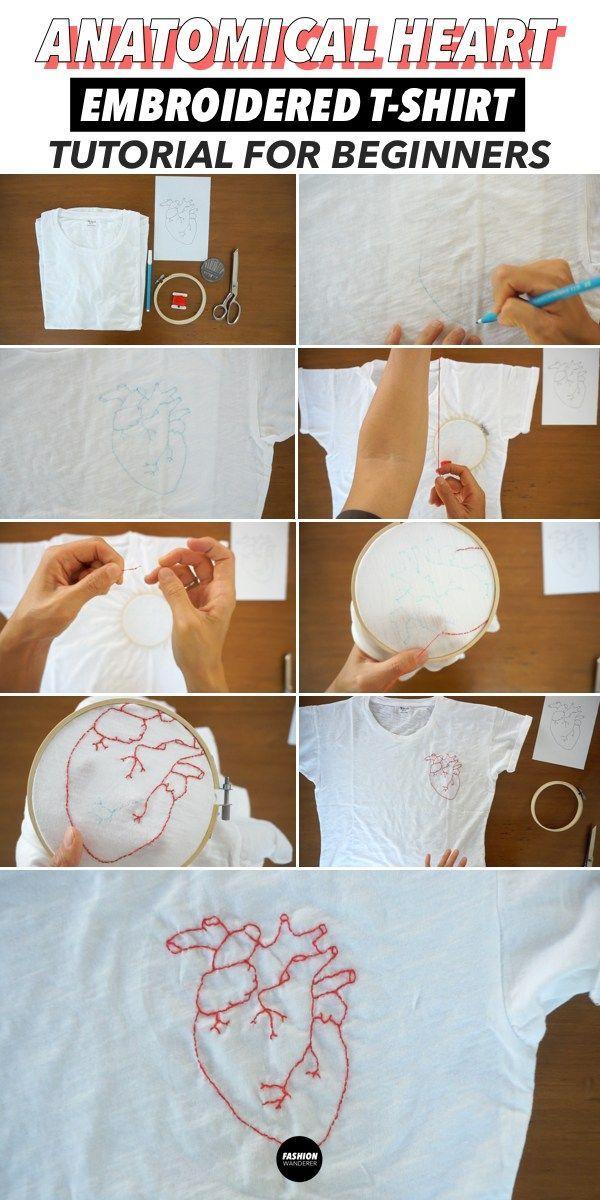 Wie man ein Hemd handbestickt (kostenlose DIY-Stickdesigns)