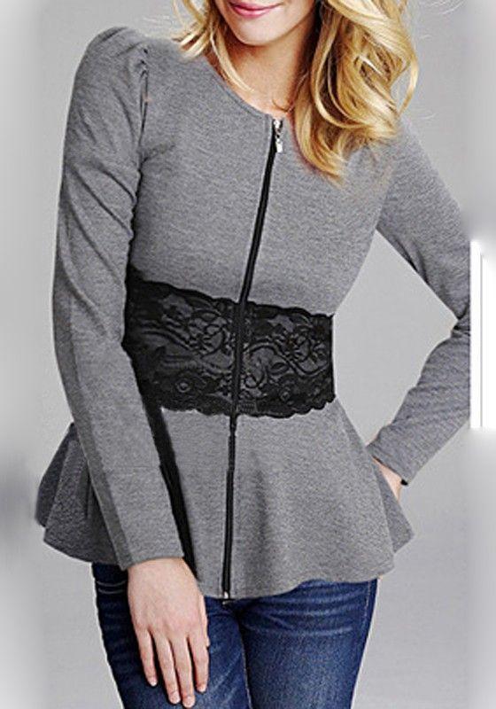 Love the Lace! Cozy Grey Plain Black Lace Round Neck Zipper Front Cotton Blend Sweatshirt #Cozy #Sexy #BodyCon #Grey #Black #Lace #Sweatshirt #Fall #Winter #Fashion