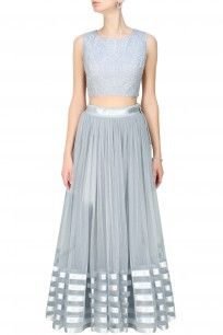 Grey tulle lehenga skirt and embroidered blouse set
