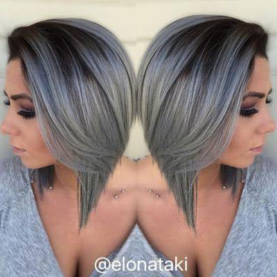 short dark gray bob haircut