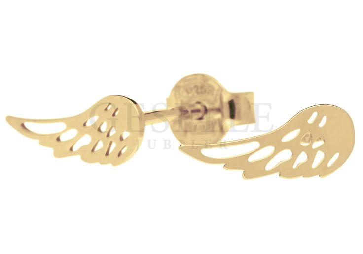 Kolczyki AG/925 - skrzydła pozłacane - Aniołek Kolekcja srebrnych kolczyków…