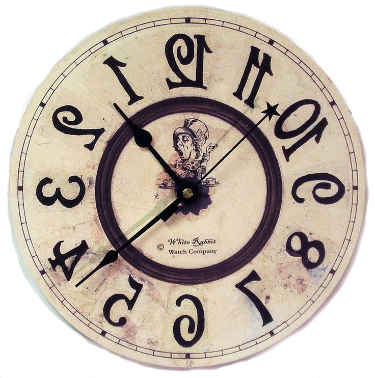 Alice in Wonderland Backwards clock