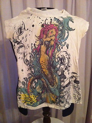 Don Ed Hardy Designs Christian Audigier Mermaid Love Heart Tee T-Shirt Small