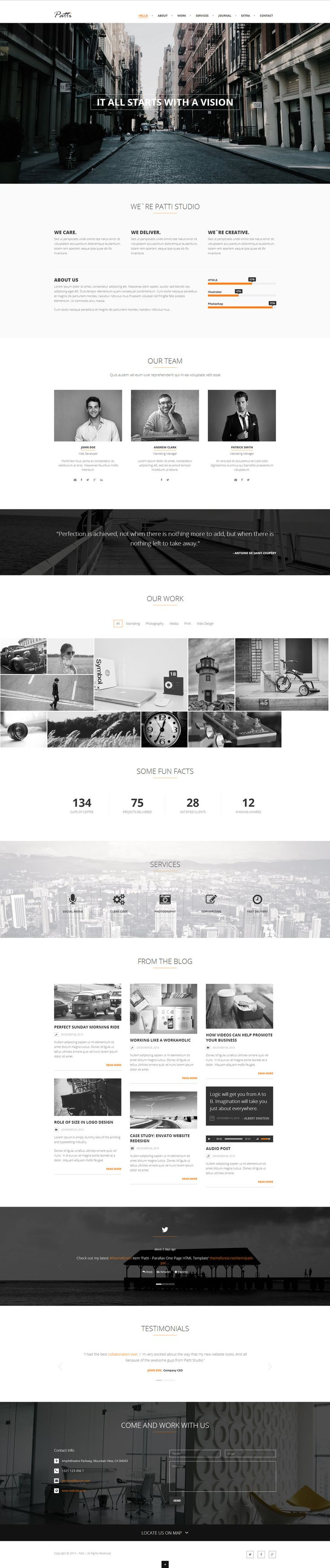 Patti - Parallax One Page HTML Template by http://DarkStaLkeRR.deviantart.com on @deviantART more on http://html5themes.org