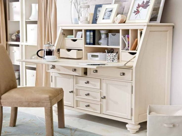 Wide White Secretary Desk With Front Folding And Plenty Storage