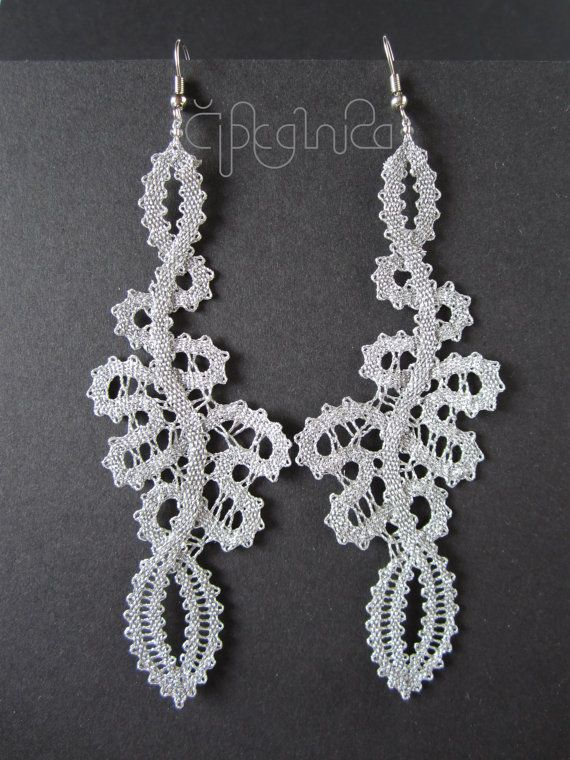 Silver Long Lace Earrings handmade bobbin lace jewelry by A5lace