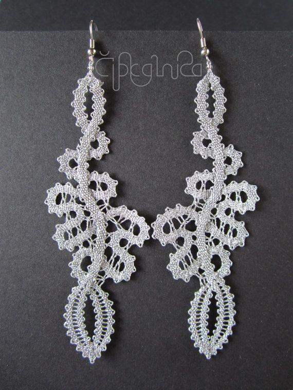 Silver Long Lace Earrings handmade bobbin lace jewelry by A5lace