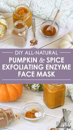 This DIY all-natural pumpkin and spice exfoliating enzyme face mask is one of my favorite homemade skincare recipes! It's a great natural remedy for blemishes and acne thanks to the cinnamon, and gently exfoliates skin with the natural enzymes found in pumpkin and yogurt! A great addition to your natural skincare routine... especially during pumpkin season - just save a pit of pumpkin the next time you're making a pumpkin latte or pumpkin smoothie or pumpkin muffins!