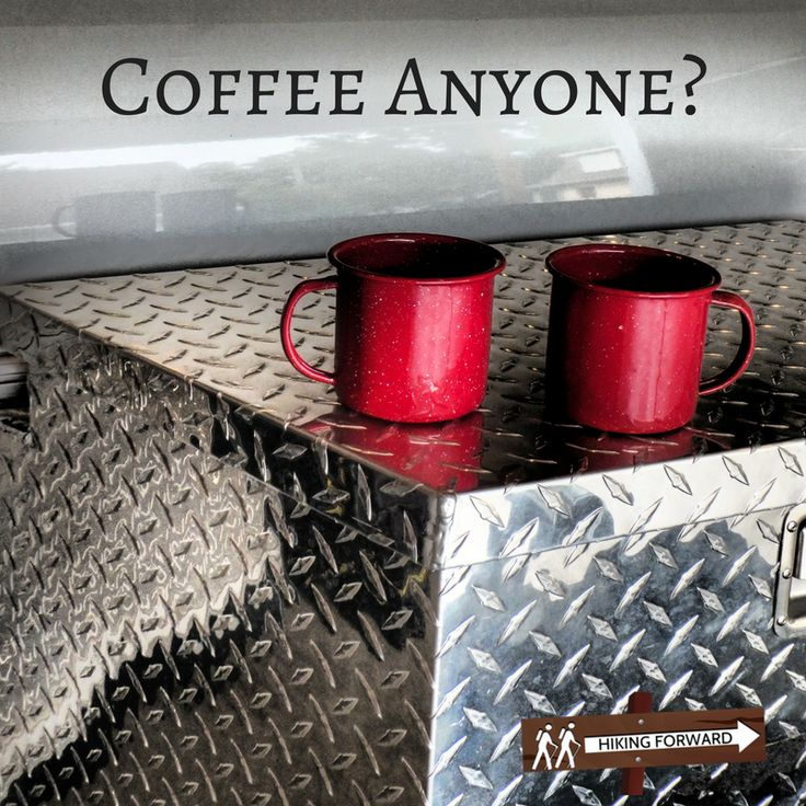Coleman Enamel Coffee Cups and a Little Guy Camper... What could be better?