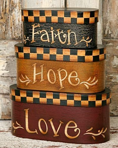 New Primitive Country Folk Art FAITH HOPE LOVE Nesting Stacking Boxes  #Country