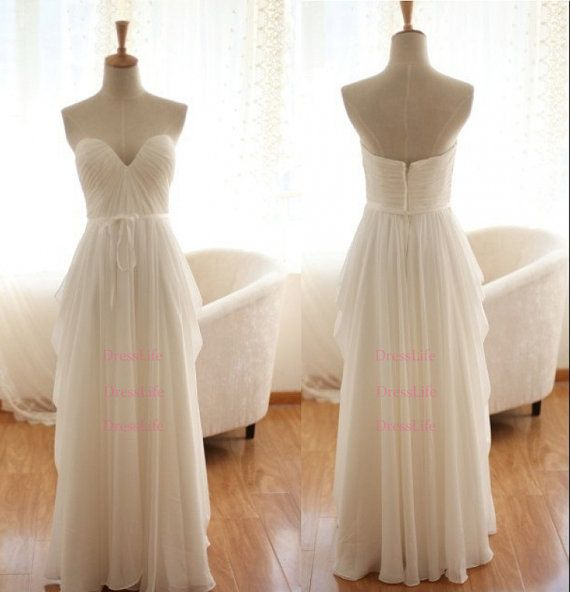 Sweetheart Ivory white simple wedding dress cheap by DressLife
