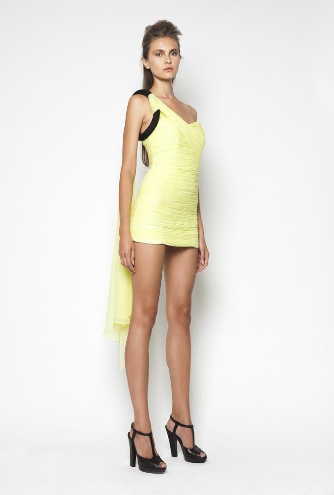 CHRISTOS COSTARELLOS SS12 Silk Chiffon Dreped Mini Dress