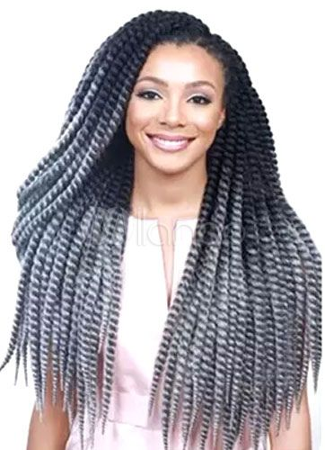 Long Wig Extension Women's African American Hair Gray Curly Dreadlock Wig In Heat-resistant Fiber
