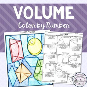 Volume Practice Coloring By NumberStudents will solve 15 problems involving Volume. Problems include finding volume for Cylinders, Cones, and Spheres, missing radius or height, and composite figures. When they get their answer they will look at the bottom of the box.