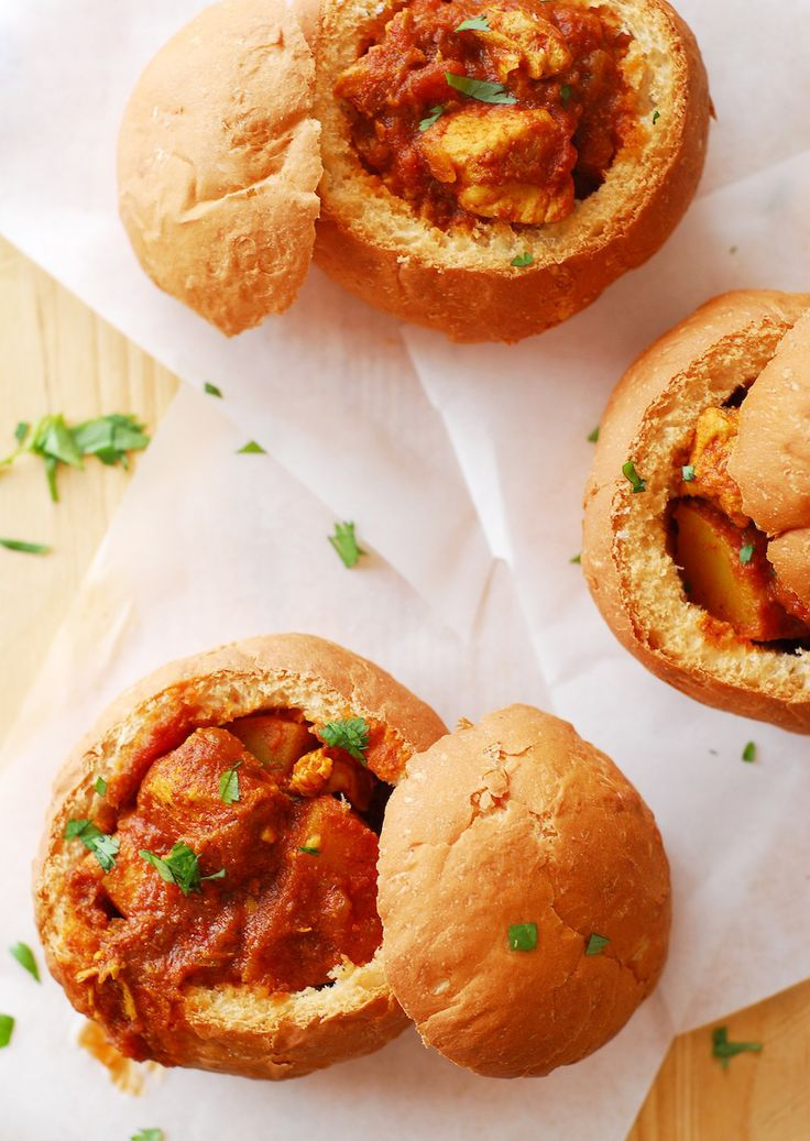 Curry in a Bread Bowl (Bunny Chow) from A Duck's Oven. This street food from Durban, #SouthAfrica is hollowed out bread filled with a spicy curry!