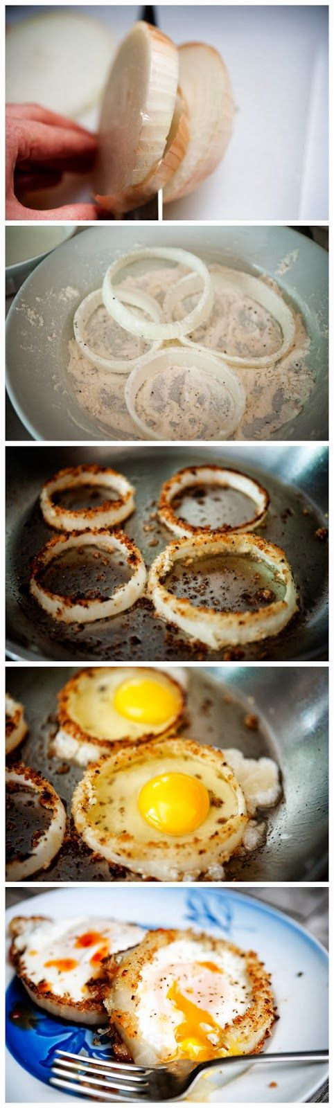 A fun twist on egg-in-the-hole and a great excuse to have onion rings for breakfast.