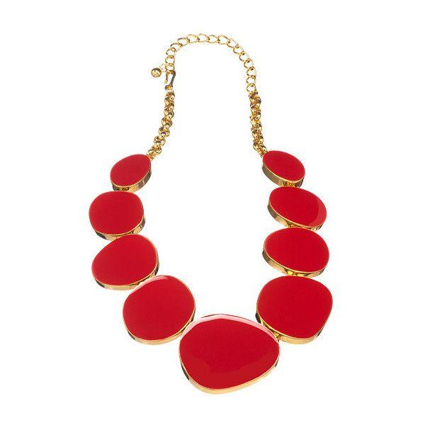 Kenneth Jay Lane Red Enamel Geo Drops Necklace Red wO2fE