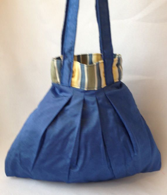 Blue Sateen Handbag by ByDebz on Etsy