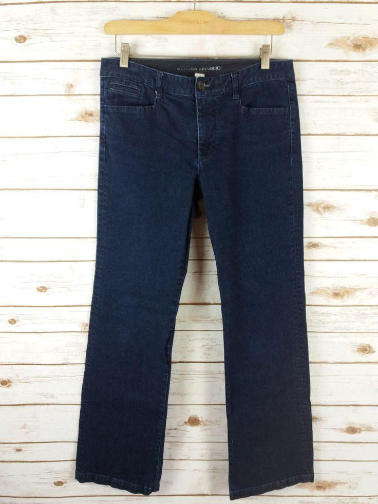 Banana Republic Dark Denim Trouser Jeans Size 29 (8) Wide Leg Stretch 33.5x33 #BananaRepublic #WideLeg