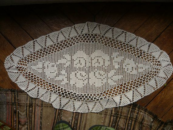 vintage filet crochet doily,table runner,center piece in very fine brilliant ecru cotton of great quality,victorian,rose pattern style.. $25.00, via Etsy.