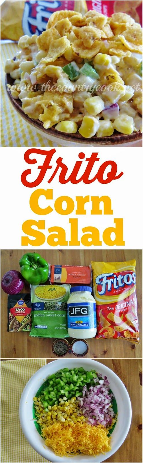 Frito Corn Salad recipe from The Country Cook. The best side dish recipe for any cookout or BBQ. It's a must-have! Perfect for Memorial Day, Labor Day and Fourth of July!