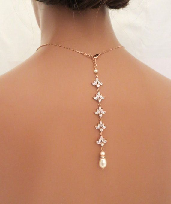 Rose Gold Bridal Backdrop necklace, Wedding back drop necklace, Rose gold Bridal… Hello! I am jewelry designer from Egypt fulfilling my dream by selling my creations. Take a moment to visit the site and view my full collection at: https://www.etsy.com/shop/Lesense - Use 10PERCENTOFF to get 10% off your purchase!!