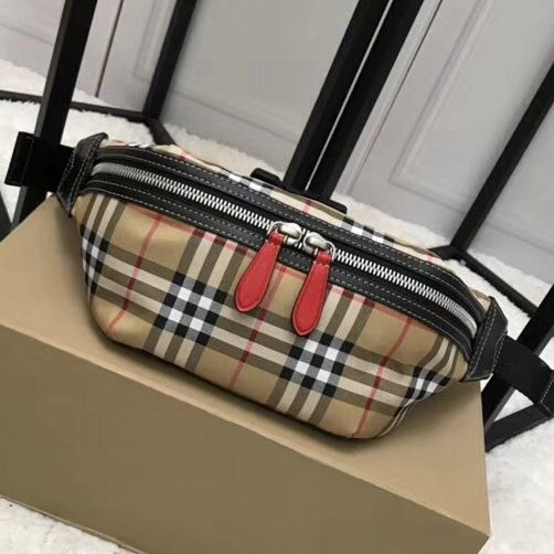 Burberry Vintage Check and Red Leather Bum Bag 2018  ec47a13bf6ed7