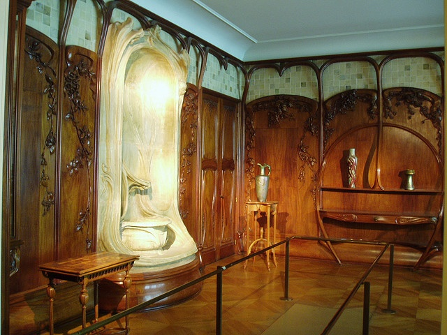 Part of an exhibition of sumptuous Art Nouveau furntiure and interior design at the Musee d'Orsay.