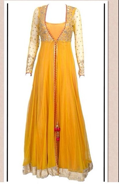This sheer jacket long anarkali is featuring in a mango yellow floor length raw silk. It comes along with net sheer jacket with gota work detailing. Fabric : Raw silk, net. Lining : Satin.