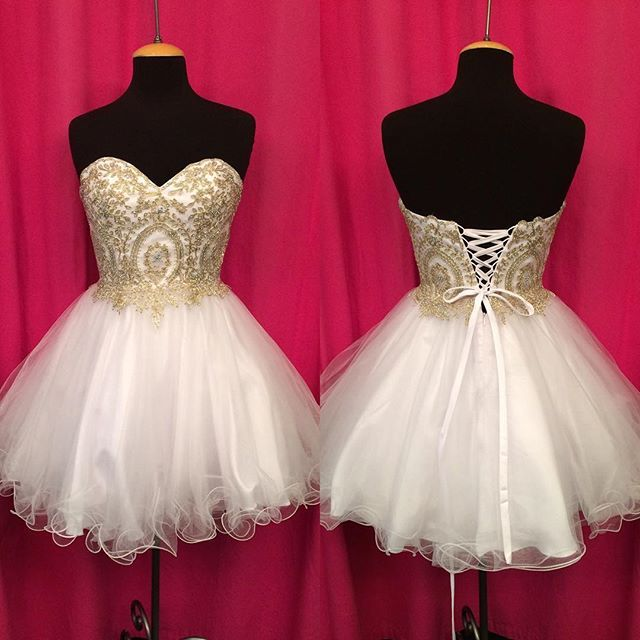 Prom Dresses,Homecoming Dresses,gold lace appliques sweetheart homecoming dress