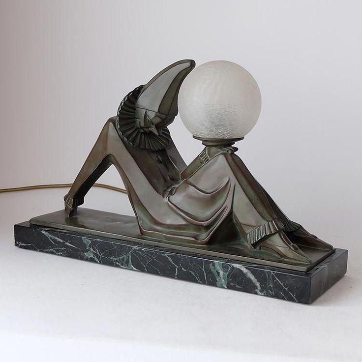 Marcel-Andre Bouraine - art metal cubist clown Art Deco table lamp