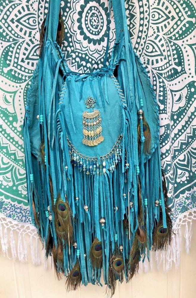 Handmade Turquoise Rustic Leather Fringe Bag Boho Hippie Gypsy OOAK Purse B.Joy  | eBay