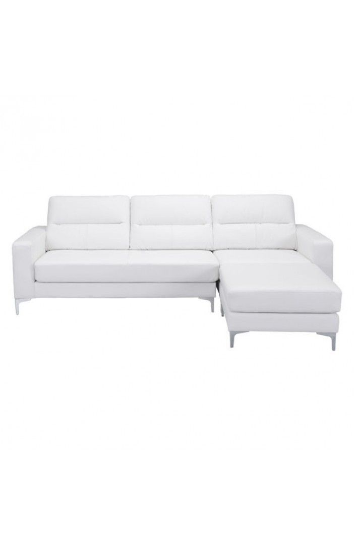 Versa Modern Stainless Steel Feet White Leatherette Fabric Sectional Sofa