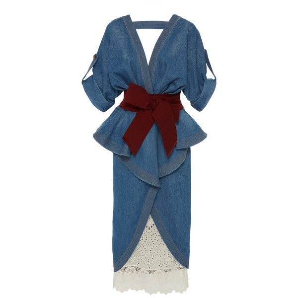 Johanna Ortiz Nuevo Mexicana Denim Trench Coat ($1,795) ❤ liked on Polyvore featuring outerwear, coats, blue, blue trench coat, trench coats, collarless coats, wrap trench coat and blue coat