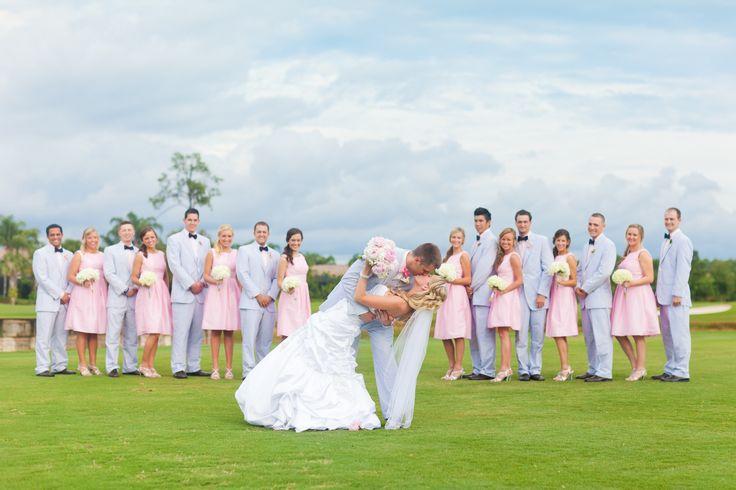 Our preppy wedding party! Seersucker wedding #seersucker #weddingparty #groomsmen #bridesmaids