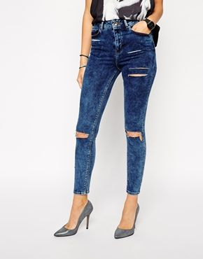 ASOS Ridley Skinny Ankle Grazer Jeans in Mottled Acid Wash with Thigh Rips and Busted Knees