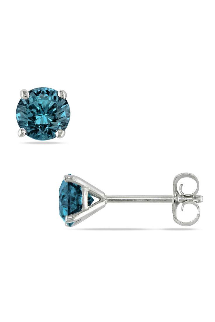 Blue Diamond Solitaire Earrings In 14k White Gold.