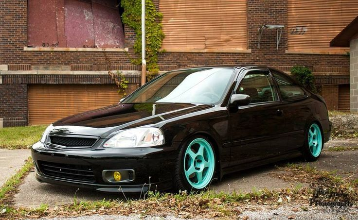 Black Honda Civic with blue wheels i would also do blue on the mirrors, grill, wipers, other trim.