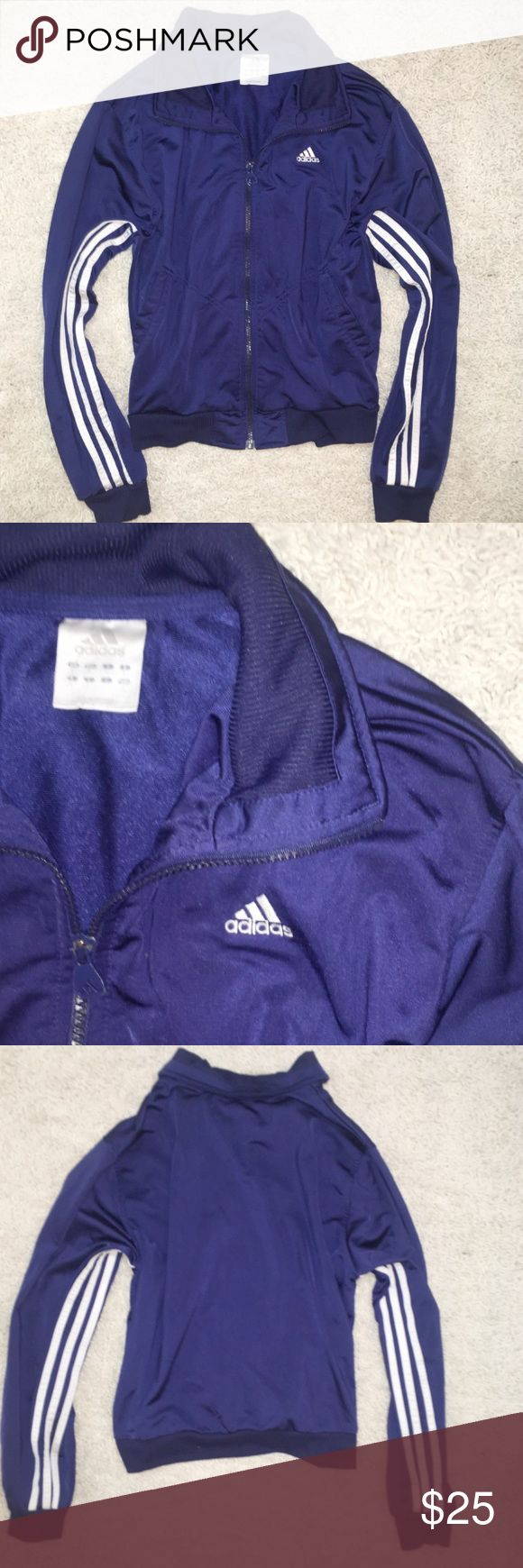 Adidas Navy Blue & White Striped Zip Up Jacket Vintage Adidas Navy Adidas Jacket Women's  Large. Excellent condition. Bundle and save 20%. Adidas Jackets & Coats