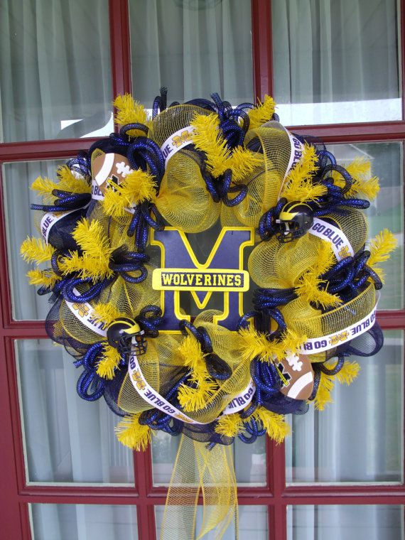 Hey, I found this really awesome Etsy listing at http://www.etsy.com/listing/157927006/michigan-wolverine-fan-deco-mesh-door