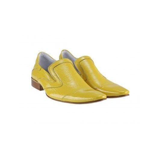 Pánske kožené extravagantné topánky žlté PT032 - manozo.hu