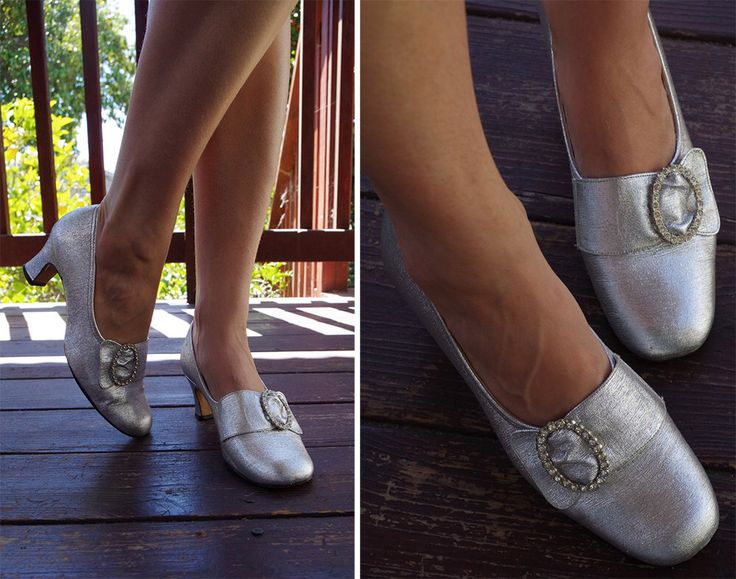 SILVER Metallic 1960's Vintage Metallic Silver Pumps with Rhinestone Buckles // by Thom McAn // size 7.5 B by Jewels4pandas on Etsy https://www.etsy.com/listing/248170189/silver-metallic-1960s-vintage-metallic