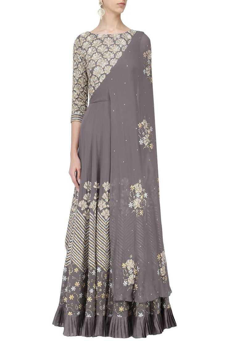 SEEMA THUKRAL Grey Floral Embroidered Attached Dupatta Anarkali. Shop Now! #seemathukral #ethnic #grey #floral #embroidered #anarkali #indianfashion #indiandesigners #perniaspopupshop #happyshopping